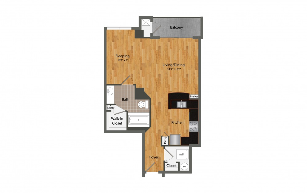 A1 Studio - Studio floorplan layout with 1 bath and 653 square feet.
