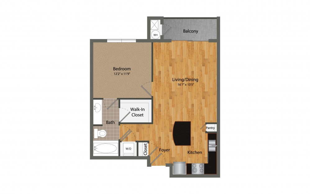 A2 - 1 bedroom floorplan layout with 1 bath and 745 square feet.