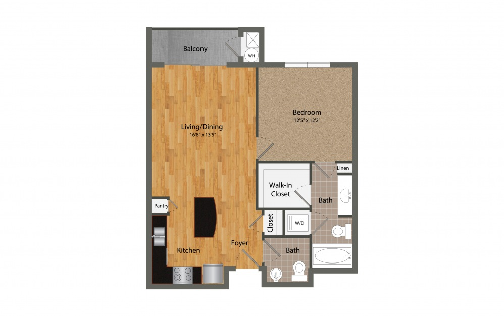 A3 - 1 bedroom floorplan layout with 1.5 bath and 781 square feet.