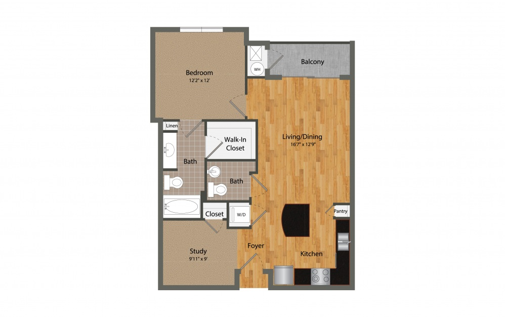 A4 - 1 bedroom floorplan layout with 1.5 bath and 876 square feet.