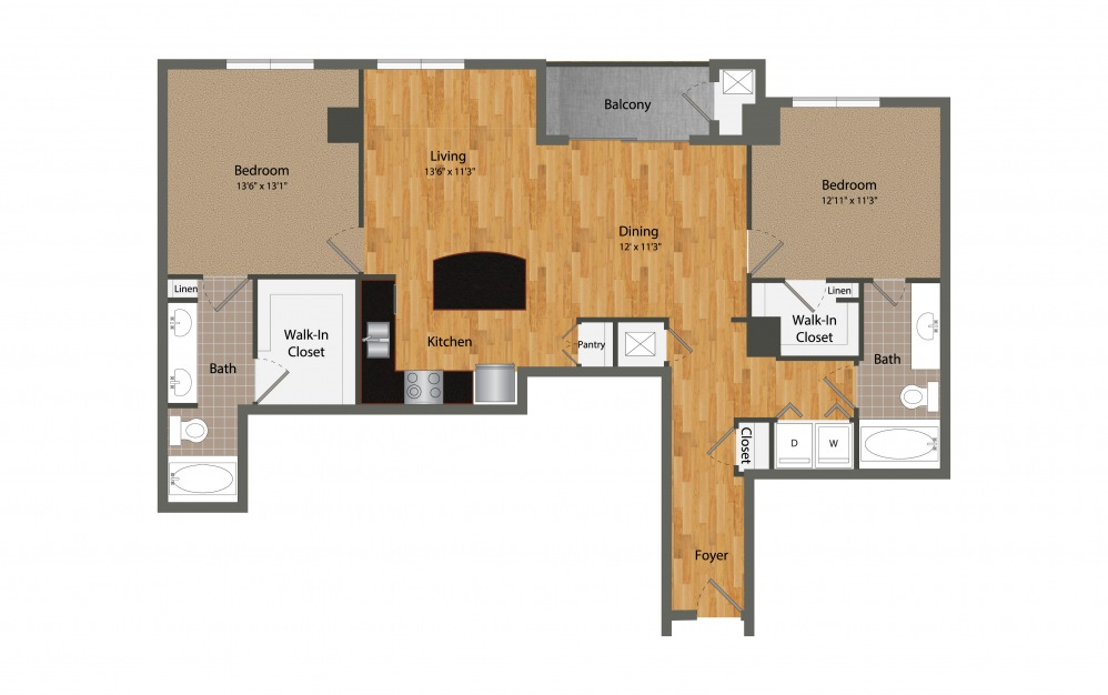 B1 - 2 bedroom floorplan layout with 2 baths and 1251 square feet.