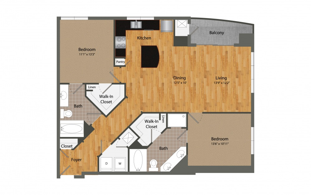 B2 - 2 bedroom floorplan layout with 2 baths and 1277 square feet.
