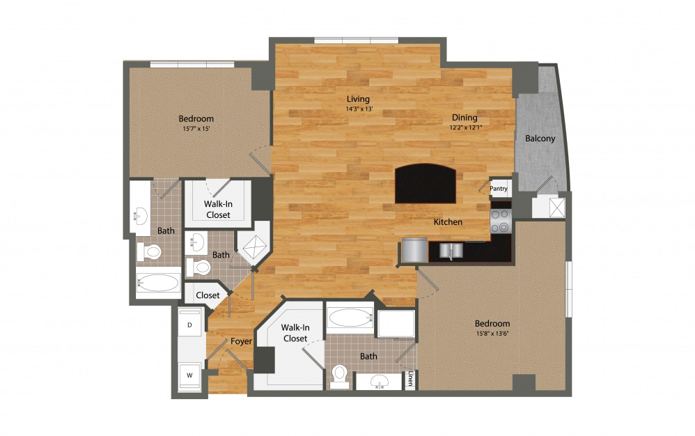 B3 - 2 bedroom floorplan layout with 2.5 baths and 1552 square feet.