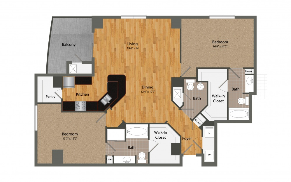 B5 - 2 bedroom floorplan layout with 2.5 baths and 1528 square feet.
