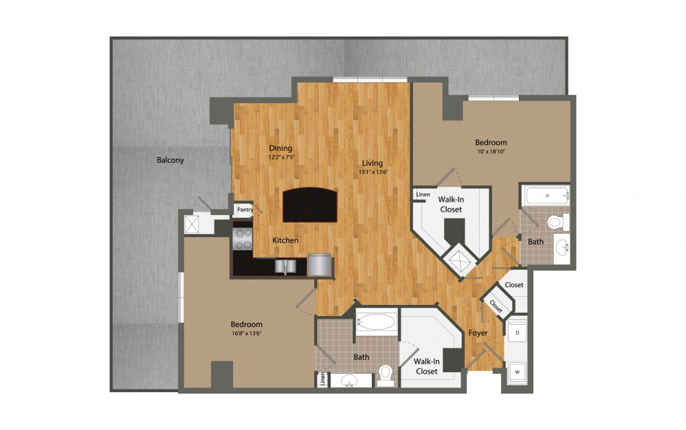 B6 - 2 bedroom floorplan layout with 2 baths and 1510 square feet.