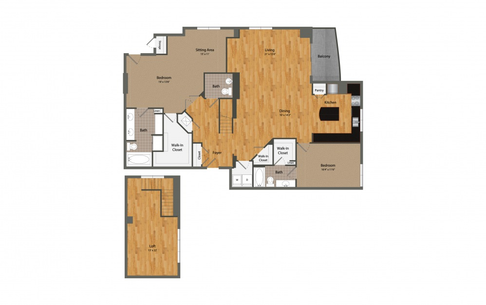 B7 - 2 bedroom floorplan layout with 2.5 baths and 2428 square feet.
