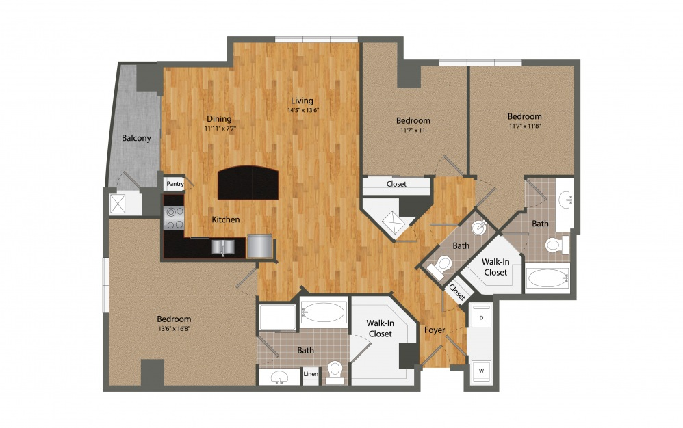 C1 - 3 bedroom floorplan layout with 2.5 baths and 1641 square feet.