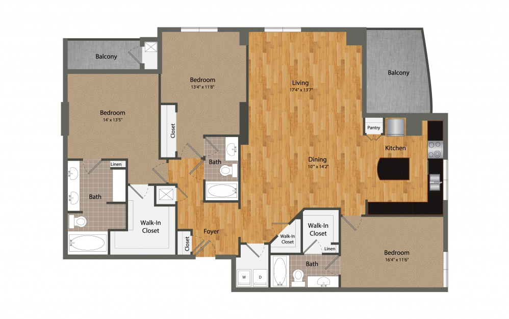 C2 - 3 bedroom floorplan layout with 3 baths and 2075 square feet.